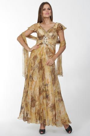 Длинное платье с V-образным вырезом Manys Tune. Цвет: золотой