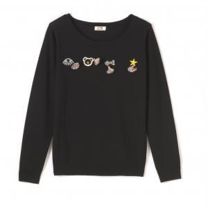 Пуловер с длинными рукавами и расшитыми нашивками MOLLY BRACKEN. Цвет: черный
