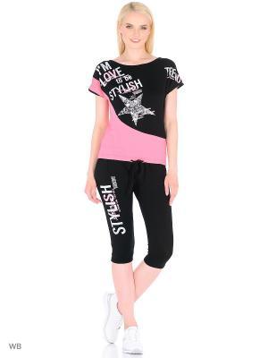 Костюм женский (футболка,капри) MARSOFINA. Цвет: черный, розовый