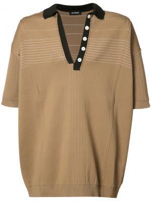 Трикотажная футболка-поло Raf Simons. Цвет: коричневый