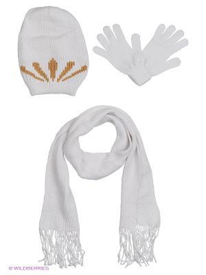 Шапка;  шарф; перчатки Krife. Цвет: белый, бежевый
