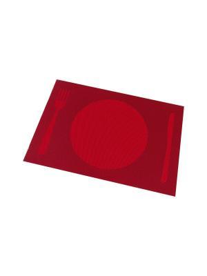 Набор 4-х салфеток Столовые приборы на красном Elan Gallery. Цвет: красный