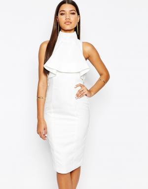 AQ Платье-футляр миди с высоким воротом оборками AQAQ Lordey. Цвет: кремовый