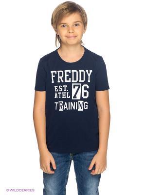 Футболка Freddy. Цвет: темно-синий, белый