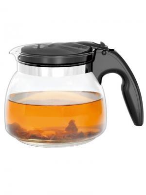 Стеклянный заварочный чайник ZY-X180 , 1800 мл Veitron. Цвет: черный, прозрачный
