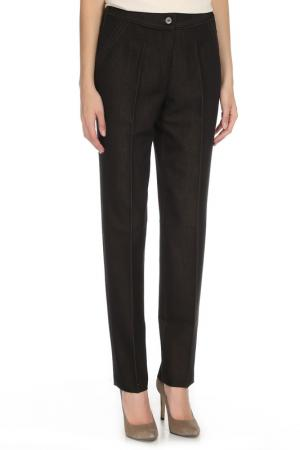 Прямые брюки с поясом на резинке YARMINA. Цвет: темно-коричневый, зеленый