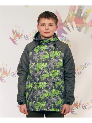 Ветровка для мальчика Лука GooDvinKids. Цвет: серый, салатовый