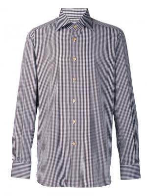 Рубашка в клетку Kiton. Цвет: коричневый