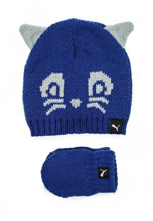 Комплект шапка и перчатки Puma. Цвет: синий