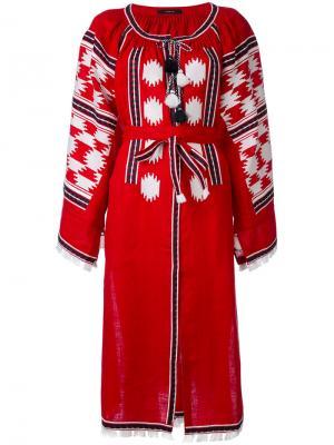 Платье-рубашка с вышивкой Vita Kin. Цвет: красный