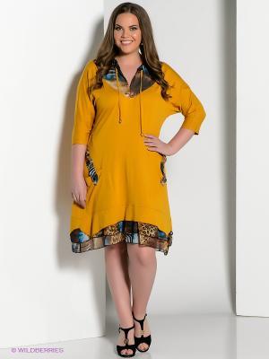 Платье Amelia Lux. Цвет: горчичный, коричневый