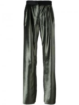 Широкие атласные брюки Ssheena. Цвет: зелёный