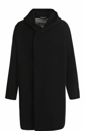 Шерстяное пальто свободного кроя на молнии с капюшоном Gemma. H. Цвет: черный