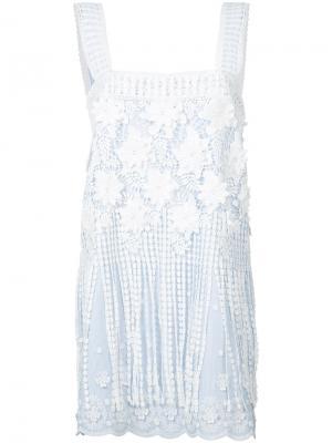 Кружевное платье шифт Alexis. Цвет: синий