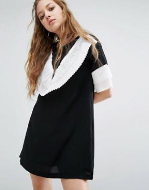 Navy Платье мини с эффектными рюшами London. Цвет: черный
