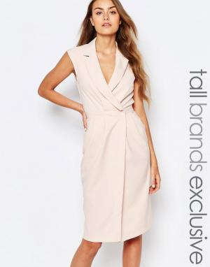 Alter Tall Платье без рукавов с лацканами и запахом спереди. Цвет: розовый