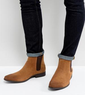 ASOS Светло-коричневые ботинки челси для широкой стопы из искусственной зам. Цвет: рыжий
