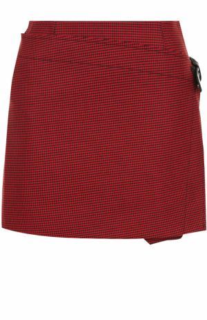 Мини-юбка в клетку с запахом и складками Helmut Lang. Цвет: красный
