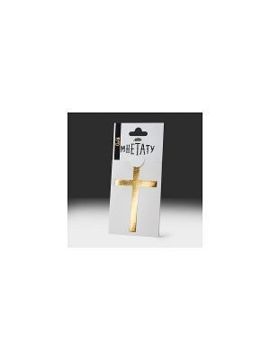 Золотое, временное тату Крест МнеТату. Цвет: золотистый