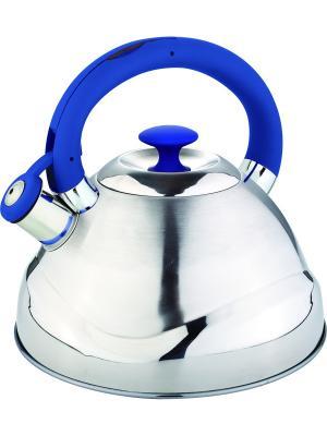 Чайник со свистком 3.0л. С силиконовой ручкой RAINSTAHL. Цвет: синий