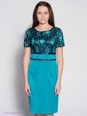 Платье Remix. Цвет: бирюзовый, черный
