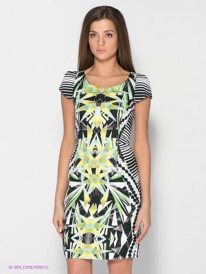 Платье FRENCH HINT. Цвет: салатовый, белый, голубой, черный