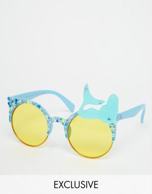 Spangled Солнцезащитные очки с желтыми стеклами Mermaid. Цвет: синий