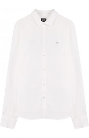 Льняная рубашка Armani Junior. Цвет: белый