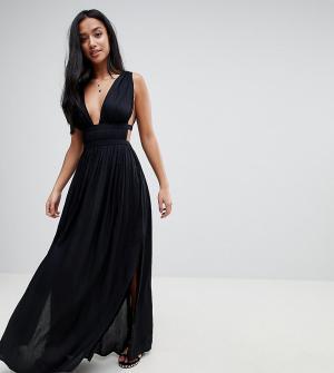 ASOS Petite Пляжное платье макси в греческом стиле с глубоким вырезом. Цвет: черный