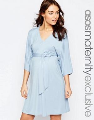 ASOS Maternity Трикотажное платье для беременных с поясом оби. Цвет: розовый