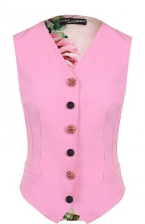 Шерстяной жилет с шелковой принтованной спинкой Dolce & Gabbana. Цвет: розовый