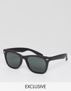 Reclaimed Vintage Квадратные черные солнцезащитные очки Inspired. Цвет: черный