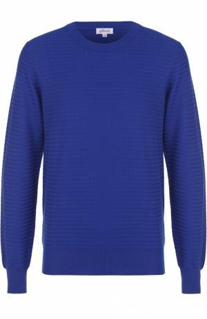 Хлопковый джемпер фактурной вязки Brioni. Цвет: синий
