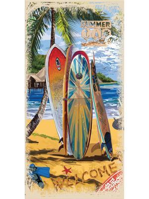 Полотенце пляжное MonaLiza&SergLook Surf Mona Liza. Цвет: бирюзовый, рыжий, светло-зеленый