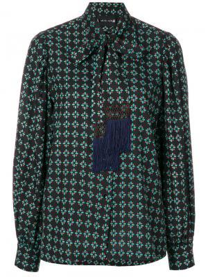 Блузка с принтом и воротником завязкой на мягкий бант Michel Klein. Цвет: чёрный