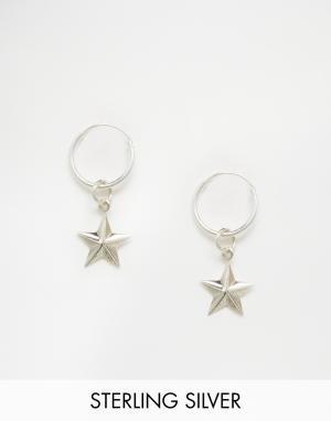 Fashionology Серебряные серьги‑кольца со звездами. Цвет: серебряный