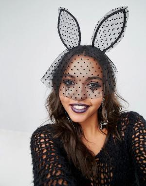 ALDO Ободок с кроличьими ушками Halloween. Цвет: черный