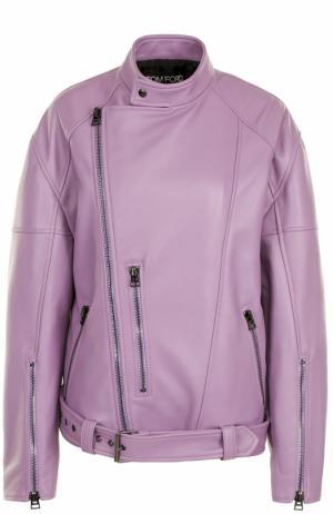 Кожаная куртка свободного кроя с косой молнией Tom Ford. Цвет: фиолетовый