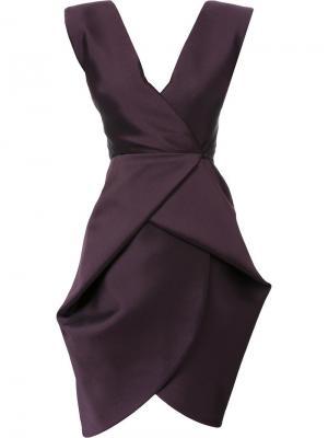 Приталенное платье с V-образным вырезом Bianca Spender. Цвет: розовый и фиолетовый
