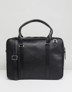 Royal RepubliQ Черная кожаная сумка для ноутбука Affinity. Цвет: черный