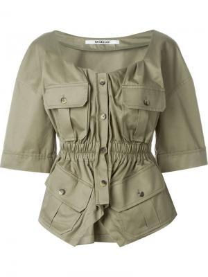 Блузка в стиле милитари Chalayan. Цвет: зелёный