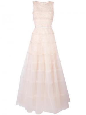 Вечернее платье без рукавов Oscar de la Renta. Цвет: телесный