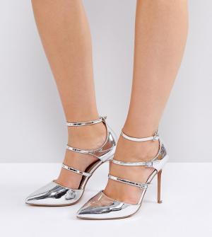 ASOS Tуфли для широкой стопы на каблуке с острым носком PALACE. Цвет: серебряный