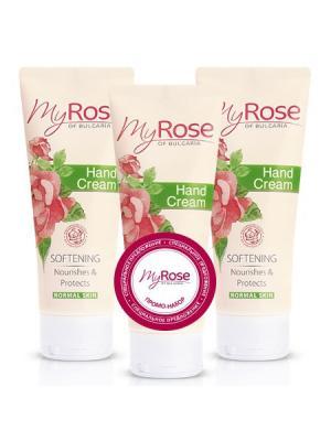 Набор: Крем для рук Hand Cream My Rose OF BULGARIA, (3x75 мл) Lavena. Цвет: бледно-розовый, белый, розовый