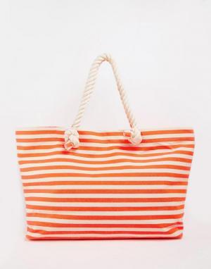 Buji Baja Холщовая пляжная сумка с полосками и ручками из веревки. Цвет: неоновый оранжевый