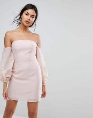 Keepsake Платье мини с открытыми плечами. Цвет: розовый