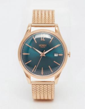 Henry London Золотые наручные часы с плетеным дизайном ремешка Stratfo. Цвет: золотой