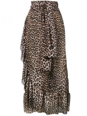 Юбка с оборками в леопардовый принт Peirce Ganni. Цвет: коричневый