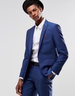 Harry Brown Ярко-синий пиджак узкого кроя. Цвет: синий