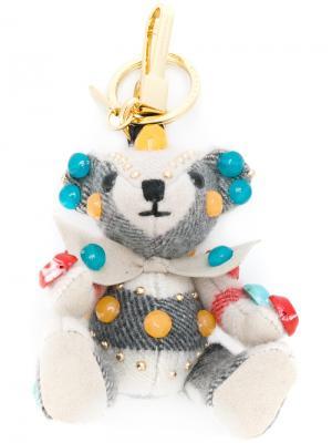 Брелок для ключей в виде медвежонка Burberry. Цвет: серый